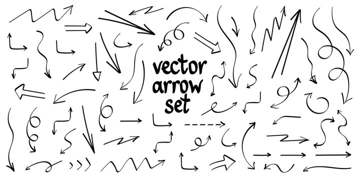 Collection hand drawn arrows. Set simple arrows isolated on white background