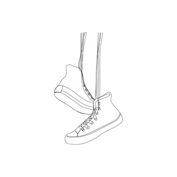 Continuous one line drawing of sneakers. Modern minimalist art. Vector illustration.