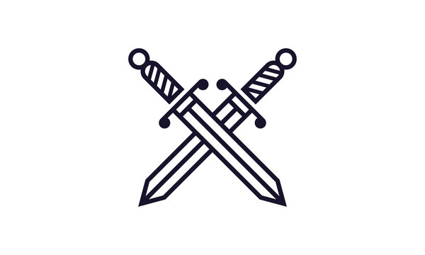 Line Art Sword Legal logo vector icon illustration