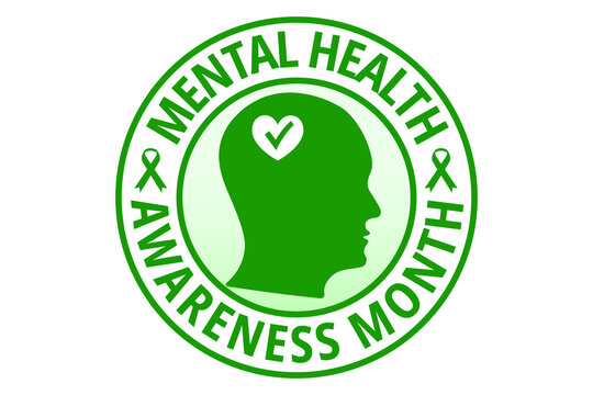 May mental health awareness month vector illustration. Flat design in green color isolated on white. Protection, healthcare, prevention concept.