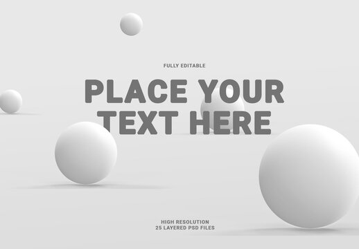 3D Floating and on the Surface Light Gray Balls with Shadows Mock Up