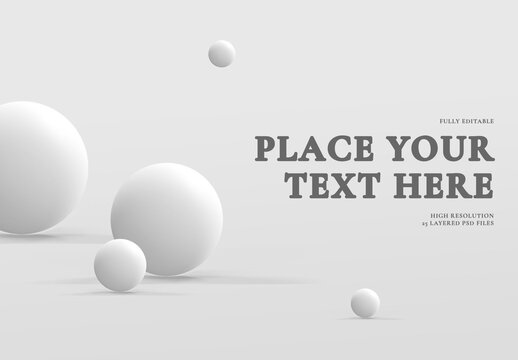 3D Light Balls with Shadows in Light Gray Space Mock Up