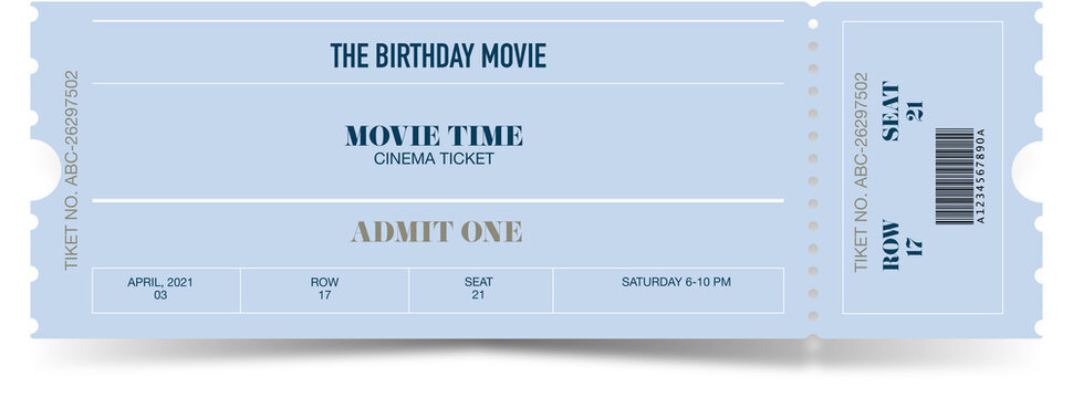 Ticket template modern trendy design. Vector admit ticket with event date and raw seat for cinema movie, music concert or festival.