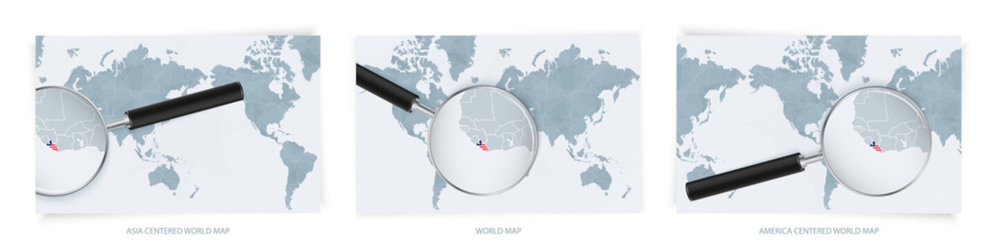 Blue Abstract World Maps with magnifying glass on map of Liberia with the national flag of Liberia. Three version of World Map.