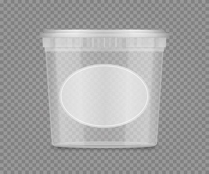 Transparent bucket mockup with label for cheese, ice cream, mayonnaise, yogurt