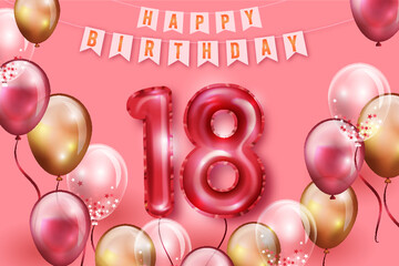 Happy 18th Birthday Background With Realistic Balloons_4  Wall mural
