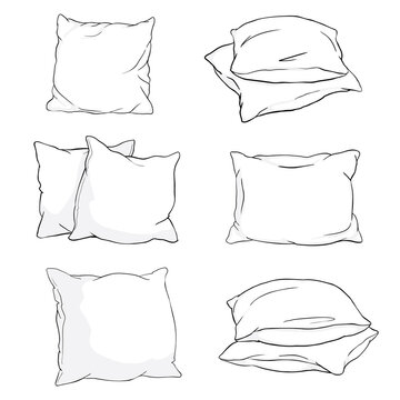 Set hand-drawn sketch style pillows - one, two, stack of four, hand holding pile of three pillows, vector illustration isolated on white background.