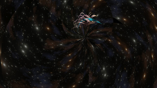 A advance crystal spaceship is travelling over a blackhole event horizon (3D Rendering)