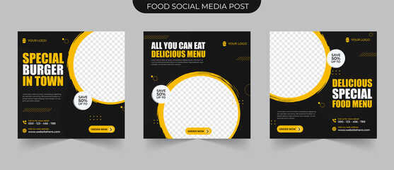 Fototapeta Delicous food promotion menu in black and yellow background color with shape suitable for social media post and web ads