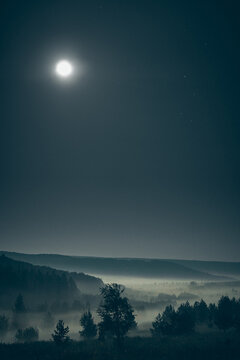 Forested hills in fog with the full moon in the starry sky at night time. Vertical orientation