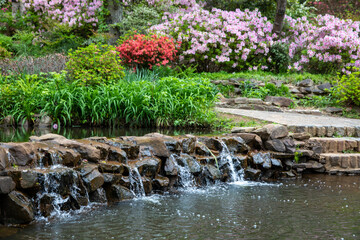 water cascade with beautiful flower landscape Wall mural