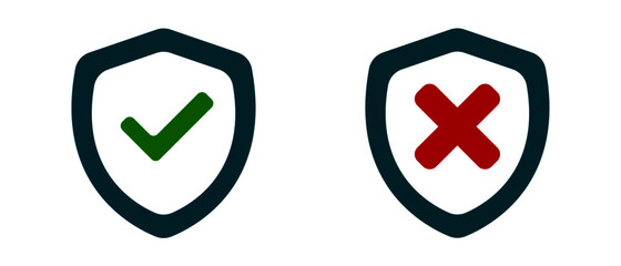 Fototapeta Check mark icon vector approved and unapproved icon on white background.