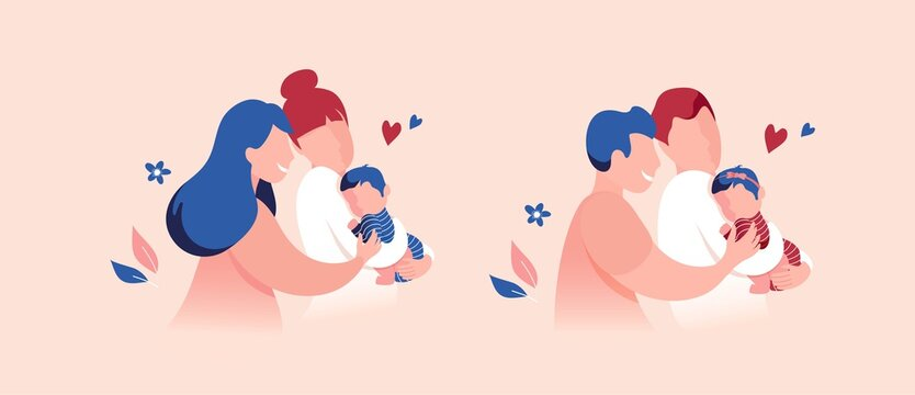 Vector Illustration Of Happy Gay Male and Female Couples Holding Adopted Babies In Arms. Lesbian and Gay Parents concept.