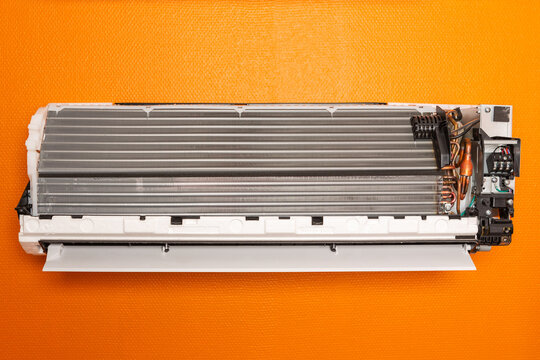 Wall mounted air conditioner parts view.
