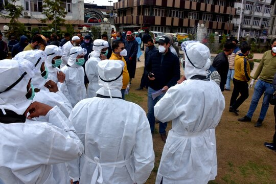 Second wave of coronavirus in india Kits white Frontline workers in india covid 2021, wearing dress helping societies people to come out from coronavirus 2nd phase in india