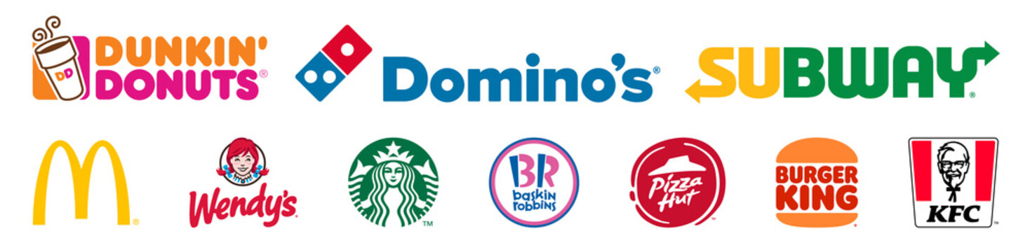 Recke, Germany - April 30, 2021: Fast food restaurants icons vector set collection. Mcdonalds, Wendy's, Subway, Burger King, Dunkin Donuts, Domino's, KFC, Starbucks, Baskin Robbins, Pizza Hut. Vector