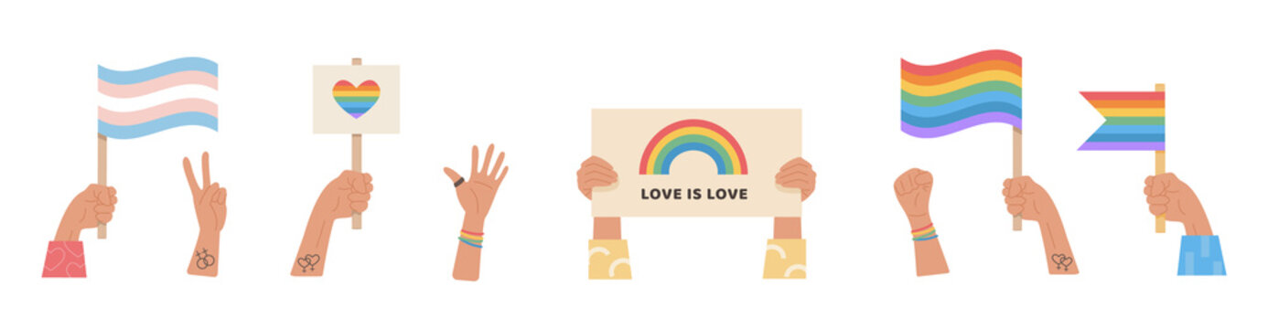 Big set of people hands holding transgender and gay flag, placard with lgbt rainbow and slogan love is love, signs and symbols for pride month celebration. LGTBQ parade. Vector flat illustration.