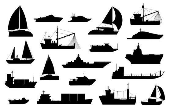 Boats silhouette. Sailboat, barge, fishing and cruise ship, sea yacht, passenger and cargo vessel icons. Nautical transport logo vector set