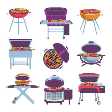Cartoon barbeque grills. Bbq oven with fry food meat, vegetables, sausage and chicken. Outdoor mobile charcoal brazier designs vector set