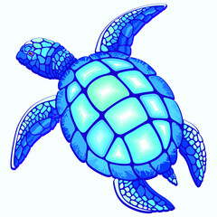 Self adhesive Wall Murals Draw Sea Turtle Blue and Turquoise isolated on white Vector Illustration
