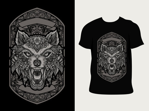 illustration vector wolf head with vintage engraving ornament style