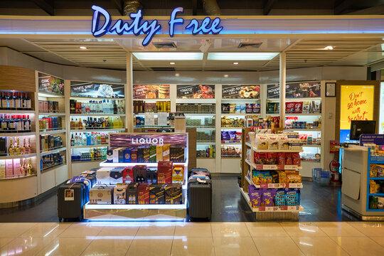 BANGKOK, THAILAND - CIRCA JANUARY, 2020: goods on display in Duty Free store at Suvarnabhumi Airport.
