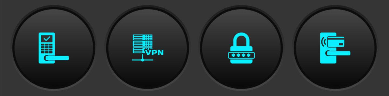 Set Digital door lock with wireless, Server VPN, Password protection and icon. Vector