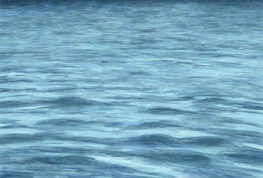 Mar con olas pintado en acuarela. Fondo azul en perspectiva