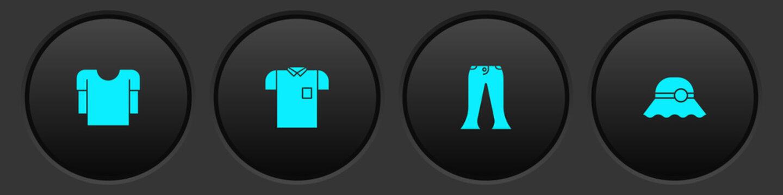 Set Long sleeve shirt, Polo, Pants and Elegant women hat icon. Vector