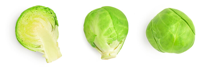 Set of Brussel Sprouts isolated on white background. Fresh raw brussel cabbage collection. Top view .