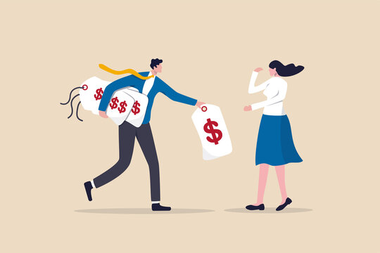 Business pricing model, how to calculate price that customer have to pay for work concept, businessman offer price tag option for customer or client to choose.