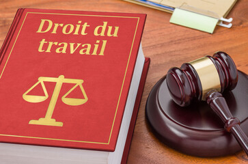 Obraz A law book with a gavel - Labour law in french - Droit du travail - fototapety do salonu