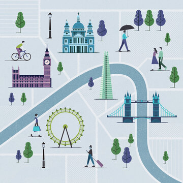 llustrated map of London