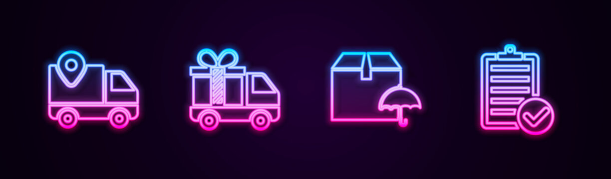 Set line Delivery tracking, truck with gift, package umbrella and Verification of delivery list. Glowing neon icon. Vector