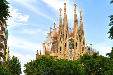 Barcelona, Spain - june 2019: Sagrada Familia Cathedral in summer