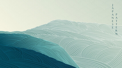 Fototapeta Abstract landscape background with Japanese wave pattern vector. Mountain forest texture banner with line art in vintage style. obraz