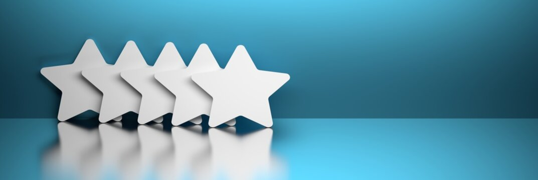 Five white large stacked stars on blue background