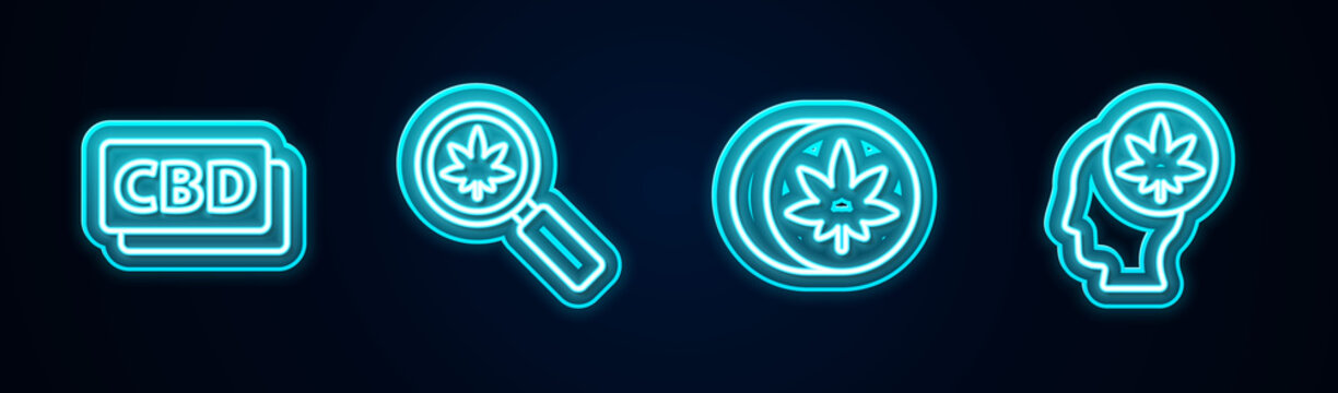 Set line Cannabis molecule, Magnifying glass and marijuana, Herbal ecstasy tablets and Head with or cannabis. Glowing neon icon. Vector