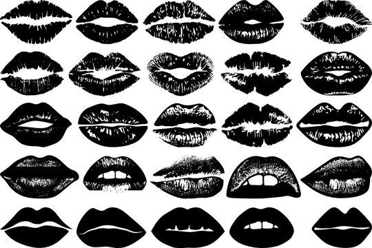 Lips SVG Cut Files | Kissing Lip SVG | Mouth Svg | Fashion Lips Svg | Sexy Lips Silhouette Bundle
