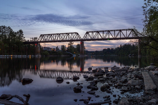 Railroad bridge over Willamette river in Wilsonville, Oregon