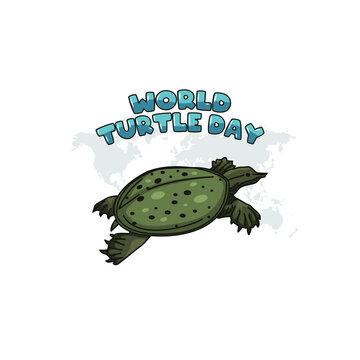 vector graphic of world turtle day good for world turtle day celebration. flat design. flyer design.flat illustration.
