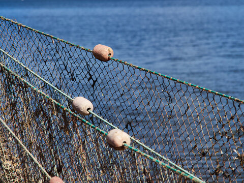 Close up view of fishing nets