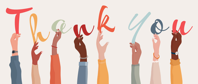 Raised arms of a group of diverse multi-ethnic people holding the letters forming the word Thank You in their hands.Teamwork.Gratitude and agreement between colleagues. Appreciation