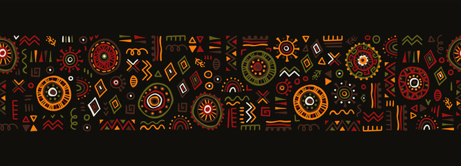 Hand drawn abstract seamless pattern, ethnic background, african style - great for textiles, banners, wallpapers, wrapping - vector design - fototapety na wymiar