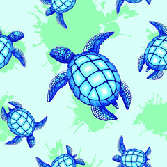 Self adhesive Wall Murals Draw Sea Turtle Blue and Turquoise Vector Seamless Repeat Pattern