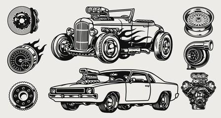 Fototapeta Retro custom cars and parts composition obraz