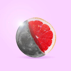 Modern design, contemporary art collage. Inspiration, idea, trendy urban magazine style. Big moon...