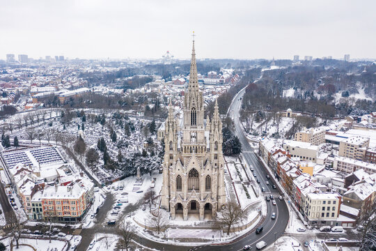 Aerial view of The Church of Our Lady of Laeken (Notre Dame de Laeken) at wintertime, Brussel, Belgium.