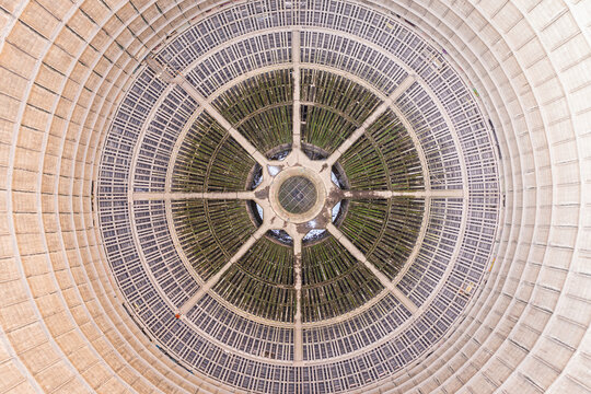 Aerial view of Power plant IM funnel reactor interiors, an abandoned power plant in Charleroi, Brussel.