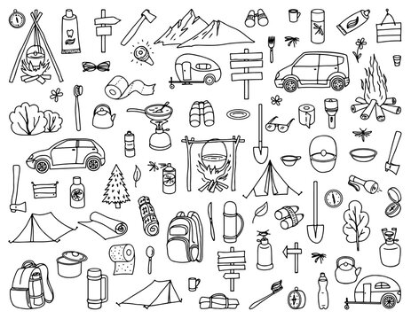 Set of camping and tourism elements